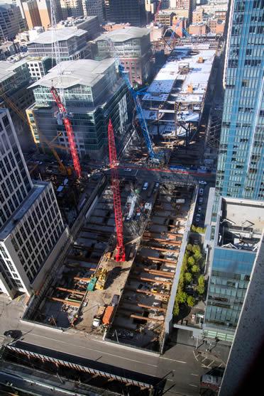 Aerial  SF Transit Center construction.