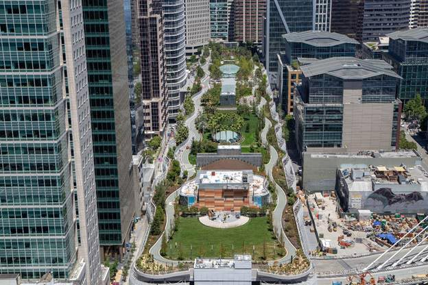 aerial photo of Salesforce Transit Center Park