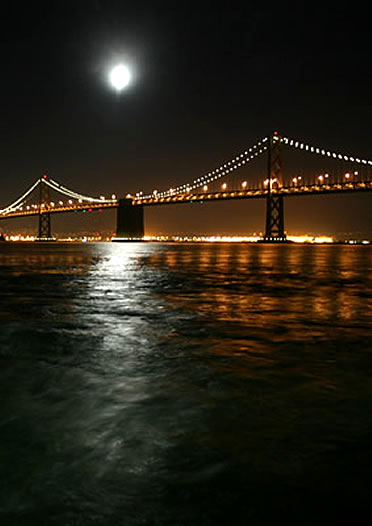 Bay Bridge  Photo taken at night from the ferry.